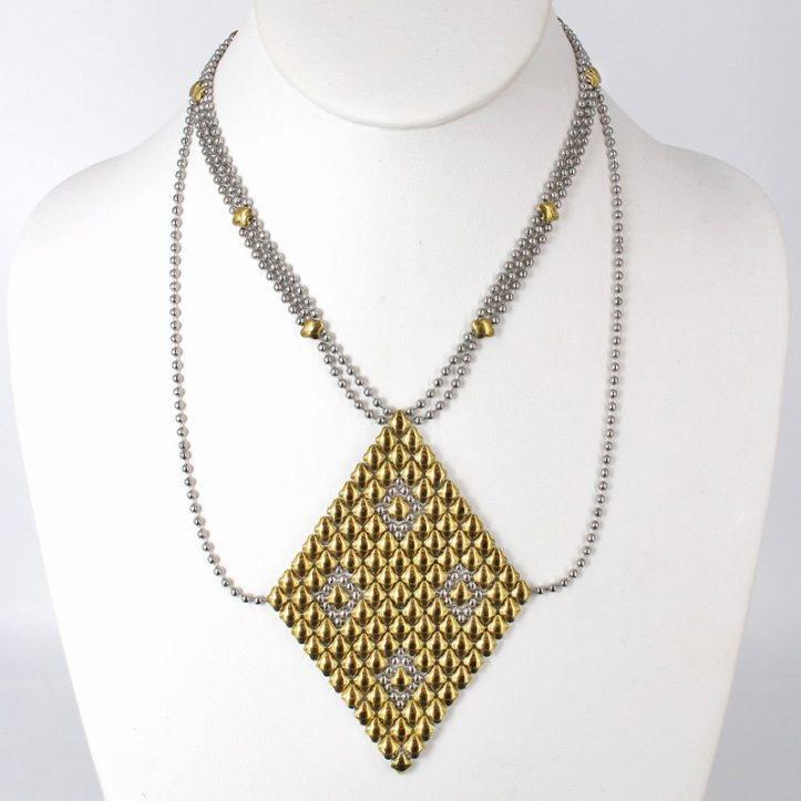 SG Liquid Metal Necklace N1-SS-GOLD_01 by Sergio Gutierrez